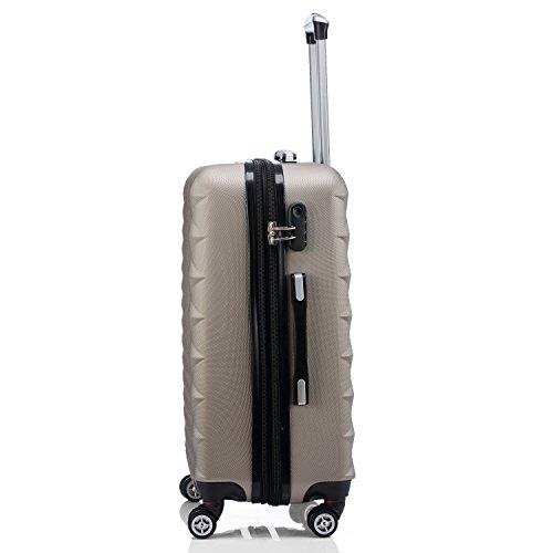 BEIBYE Kofferset 4 Zwillingsrollen Hartschale Trolley Koffer Reisekoffer Reisekofferset Gepäckset in 12 Farben (Champagner) - 3