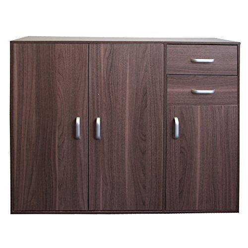Redstone Sideboard Kommode 3 Türen 2 Schubladen (Nussbaum Dunkel) -
