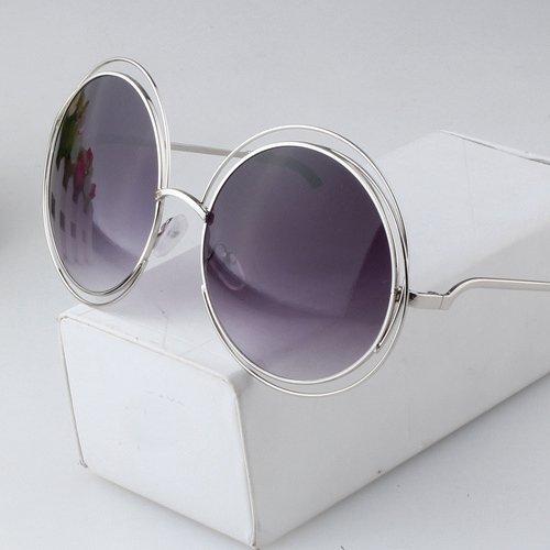 Sunyan Sonnenbrille Frau tide neue Koreanische runden Rahmen Sonnenbrille big Frame lady Sonnenbrille Farbe film Sonnenbrille, Streamer Silber