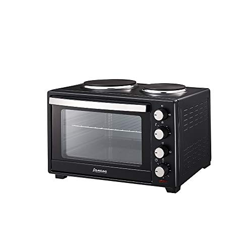 PananaHome 30L Mini Oven with Electric Grill and Double Hotplates 1600W Portable Compact Cooker Grill Baking Cooking Roast Kitchen