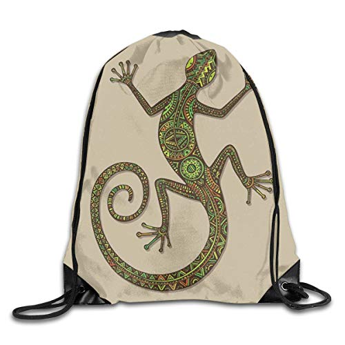 HLKPE Drawstring Backpacks Bags Daypacks,Ornamental Colorful Lizard with Ethnic Patterns Moving Around Exotic Creature Theme Picture,5 Liter Capacity Adjustable for Sport Gym Traveling -