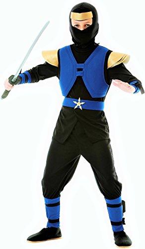 Magicoo Royal Ninja Kostüm Kinder Blau-Schwarz-Gold - Komplettes Kinder Ninja Kostüm Jungen Blau (140/150)
