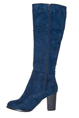 Neue Damen verdeckter Reißverschluss Plattform Quaste Knie Mitte Kalb Stiefelette Marineblau (Veloursleder)