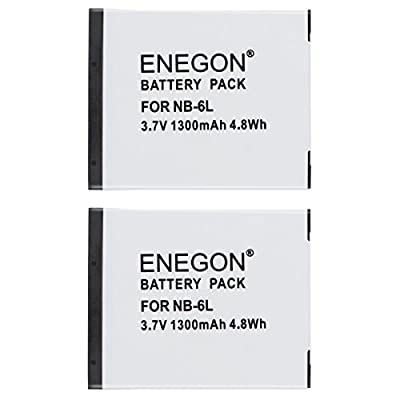ENEGON Replacement Battery 2-Pack and Charger Kit for Canon NB-6L NB-6LH CB-2LY and Canon PowerShot SX510 SX500 SX700 SX280 SX260 SX170 and More Cameras