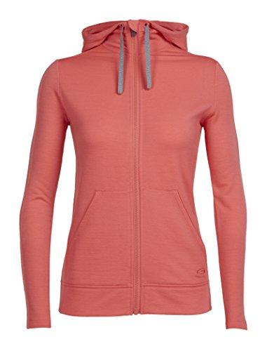Icebreaker Damen Dia Long Sleeve Zip Midlayer Hood S tulpe - Browning Fleece-sweatshirt