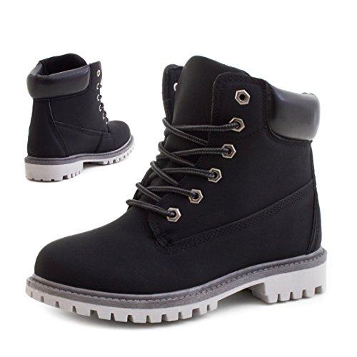 Trendige Unisex Damen Herren Schnür Stiefeletten Stiefel Worker Boots - auch in Übergrößen Schwarz/Grau