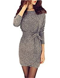 53057fe816ea Minetom Women S Sexy Dress Cocktail Party Sweater Tunic Long Sleeve Fall  Winter Skirt Bodycon Mini Dress