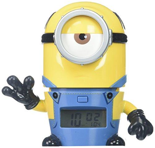 BulbBotz Ich - einfach unverbesserlich 3  2021234 Mel Kinder-Wecker mit Nachtlicht und typischem Geräusch | gelb/blau | Kunststoff | 14 cm hoch | LCD-Display | Junge/ Mädchen | offiziell (Lego Alarm Clock Radio)