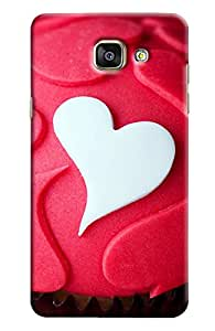 Omnam White And Red Heart Pattern Printed Designer Back Cover Case For Samsung Galaxy A5 (510) 2016