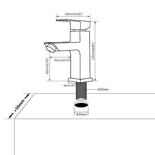 Homelody Waschtischarmatur Badarmatur Mischbatterie Waschbecken Wasserhahn Waschtisch armatur bad Waschbeckenamatur Einhebelmischer f.badzimmer - 3