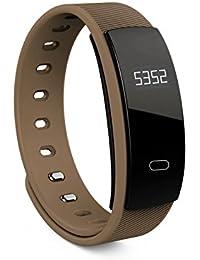 Pulsera inteligente,Pulsera inteligente de presión arterial QS80, Fitness Tracker con Pulsómetros, Cronómetro, Gps para running, monitor de ritmo cardiac (Café)