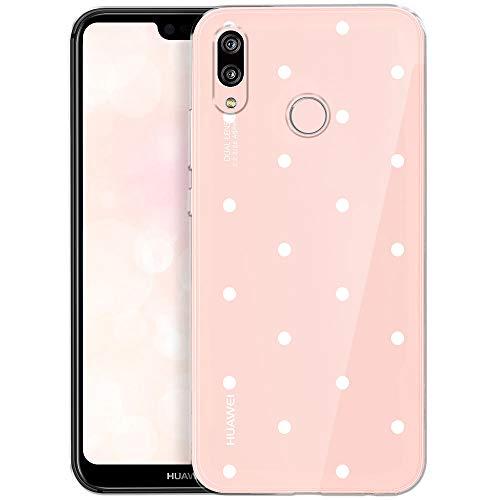 OOH!COLOR Handyhülle kompatibel mit Huawei P20 Lite Hülle Transparent Muster Tasche Handyhülle Silikon Huawei P20 Lite Case mit Motiv weiße Punkte (EINWEG)
