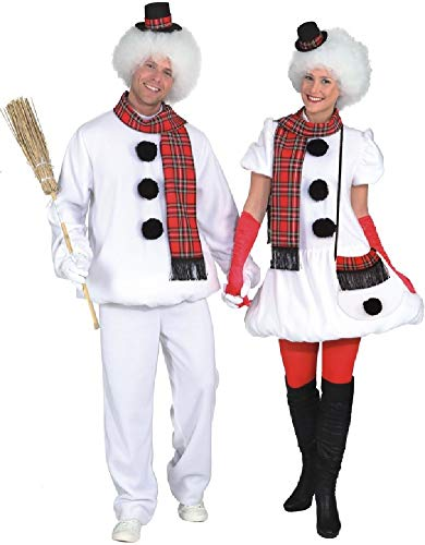 Couples Ladies AND Mens Cute Snowman Christmas Xmas Festive Winter Fun Fancy Dress Costumes Outfits (UK 12-14 (EU 40/42) + Large (EU ()
