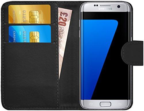 GizzmoHeaven Samsung Galaxy S7 Edge Leder Hülle Schutzhülle Tasche mit Karte Halter Klappetui Flip Case Cover Etui Brieftasche für Samsung Galaxy S7 Edge SM-G935F mit Displayschutzfolie und Stylus-Stift - Schwarz