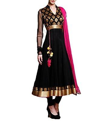"Vaankosh fashion Women's Georgette Dress Material(vnkosh25_black_Free Size) - Black • Buy original Vaankosh fashion products from the seller ""Vaankosh Fashion"" only"