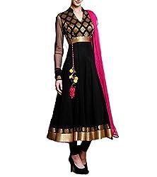 Vaankosh fashion Women's Georgette Dress Material(vnkosh25_black_Free Size)