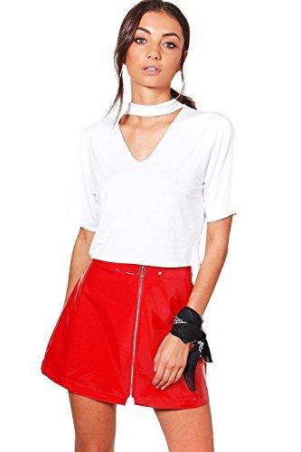 Femmes blanc Tall Esme T-shirt Court Ras Du Cou Blanc