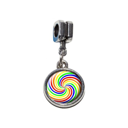 Rainbow Swirl Candy Italienisches europäischen Euro-Stil Armband Charm Bead–für Pandora, Biagi, Troll,, Chamilla,, andere (Euro-swirl)