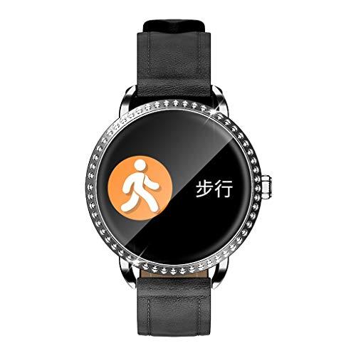 Felicy Smartwatch Wasserdicht Gehärtetes Glas Aktivität Fitness Tracker Herzfrequenzmesser (Schwarz)