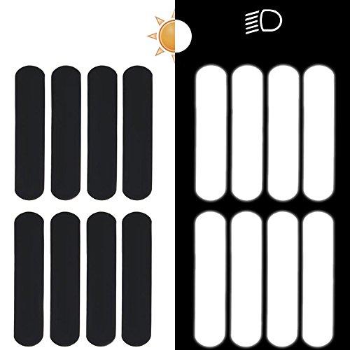 8 Bandes de stickers réfléchissants pour casque moto 9x2 cm Noir Réfléchissant
