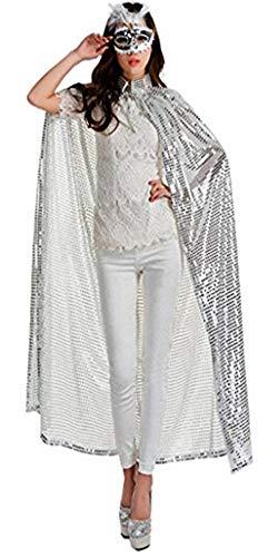 Damen Halloween Umhang Lange Pailleiten Bekleidung Karneval Fasching Kostüm Cape Fashion Cosplay Zubehör