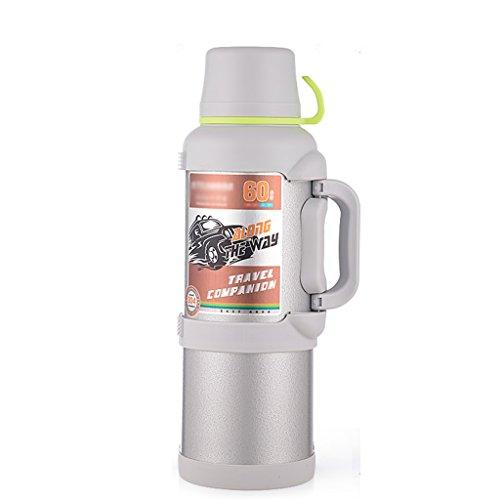 Bouteille isotherme en acier inoxydable bouteille d'eau de voyage pour hommes tasses de grande capacité pour hommes bouteille d'aspiration extérieure portable (Color : Blanc, Size : 4000ml)