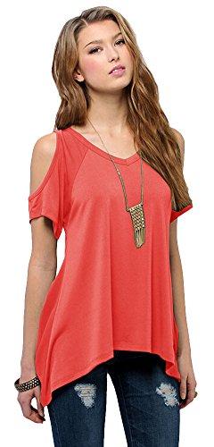 urban-goco-mujeres-casual-tallas-grandes-camiseta-slim-fit-v-cuello-off-shoulder-tunica-tops-coral-r