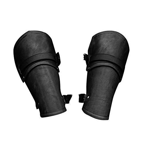 Ritter Schwarzer Armee Kostüm - 1 Paar Leder Armband Faux Leather Gauntlet Wristband Bracer Arm Arm Rüstung Cuff Buckled Punk Gothic Mittelalter Kostüm Schutzausrüstung