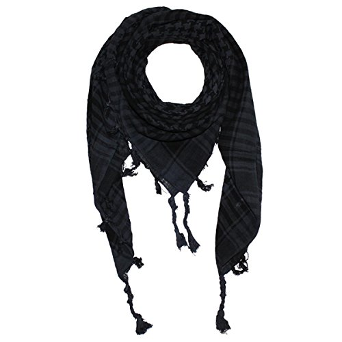 Freak Scene® Foulard palestinien/keffieh en coton tissé ordinaire ° 100 x 100 cm - all colours!!! gris foncé motif noir
