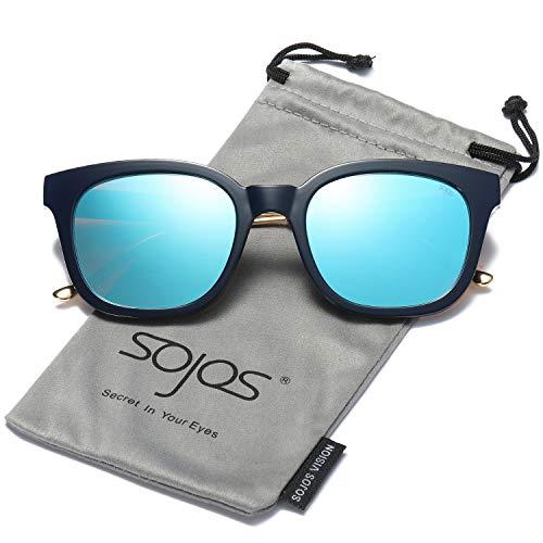 SOJOS Gafas De Sol Unisex Hombre Mujer Clásico Cuadrado Polarizado SJ2050  Con Marco Negro Lente 0555929197c9