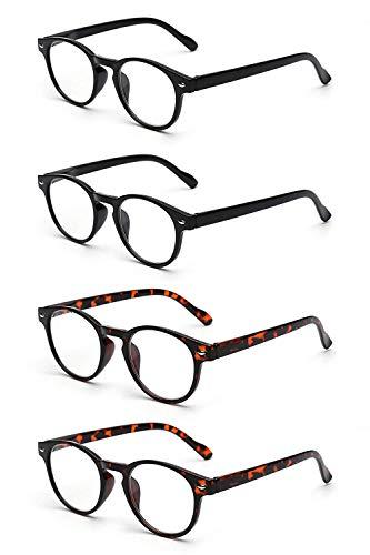 JM 4 Pack Federscharnier Lesebrille Vintage Runden Brillen für Leser Damen Herren +1.75 Schwarz & Schildkröte