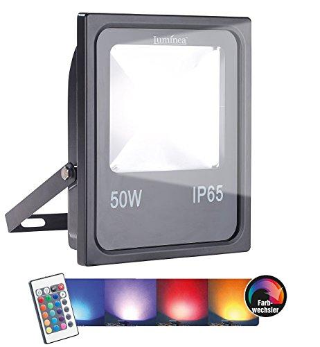 Luminea LED Strahler RGB: Wetterfester Fluter, RGB-SMD-LEDs, Fernbedienung, 50 W, 4.000 lm, IP65 (LED RGB Strahler Outdoor) -
