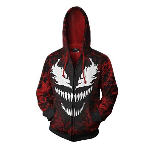 Zhilin4241pz 3D Printing Venom Felpa con Cappuccio, Spiderman Costume Cosplay Maglione Cappotto, Spider Man, Giacca da Donna con Cappuccio Stampa Abito con Cerniera, Red, Large