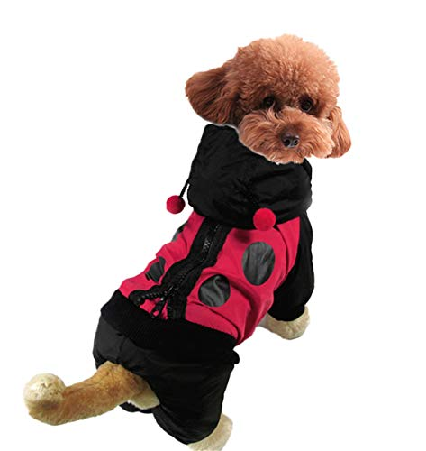 Mieel Haustier Kleidung Warme Pet Bekleidung Winter Haustier Jacke Washed Jumpsuit Lovely Puppy Wintermäntel Bequemes Hunde Kostüme Mit Punkten Kapuzenpullover Marienkäfer
