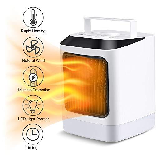 Calentador Eléctrico Calefacción Portátil Ventilador 800W Viento Caliente Frío 7 Colores LED Luz...