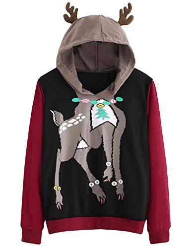 Weihnachten Damen Pullover, Teenager Mädchen Weihnachtspulli Rentier  Kapuzen Christmas Sweatshirt Hoodie Elch Xmas Pulli Weihnachtspullover  Kapuzenpulli ... a3fc5bfa99