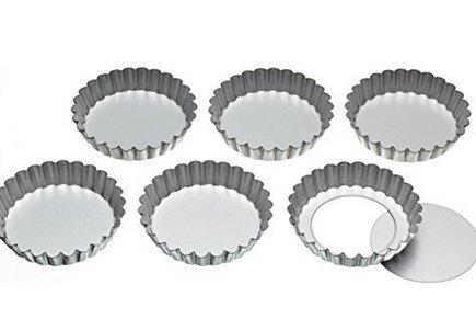 J * MYI Edelstahl aus Törtchen Dosen mit lose Basen, 14cm (Set von 6) Fluted Mini-tarte