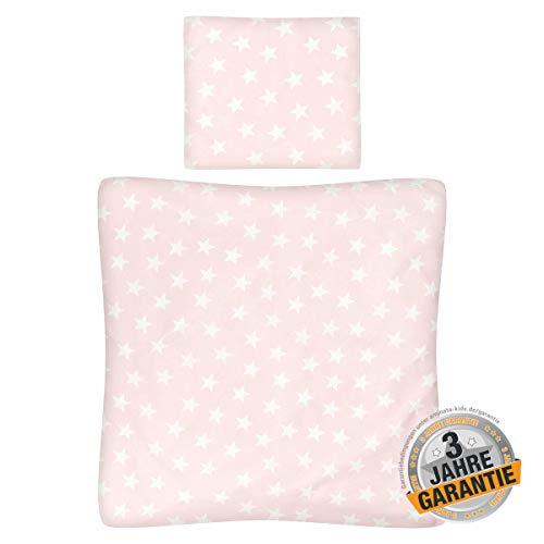 Aminata Kids - Wiegen-Baby-Bettwäsche-Set Sterne 80-x-80-cm & 35-x-40 cm Mädchen - Baumwolle - rosa weiß - weich und kuschelig, für Beistellbett, Reißverschluss, Öko-Tex