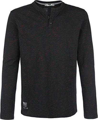 Black Premium by EMP Henley Manica lunga nero/rosso S
