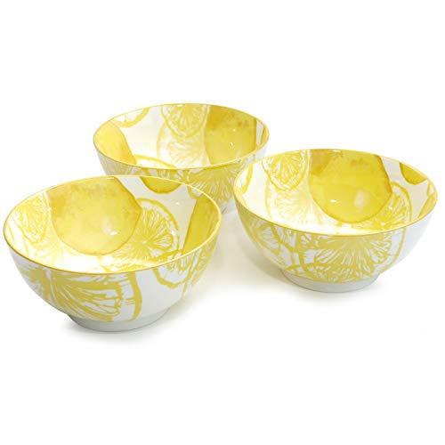 chale 3er-Set Lemon Weiß Gelb Porzellan Schale Reisschale Dessertschale Modern Design 14 cm ()