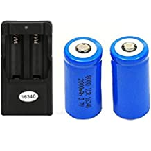 Malloom 2 x 2000mAh 16340 Batería de ion-litio recargable Para linterna LED + Cargador CR123A