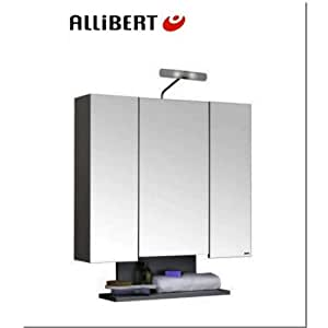 Allibert alt 39 o bathroom cabinet 80cm wood 3 mirrored for Bathroom cabinets 80cm wide