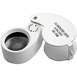 Generic LED Jewellers Loupe 40 x 25mm Glass Jewellery Magnifier Hallmark Eye Lens Gold