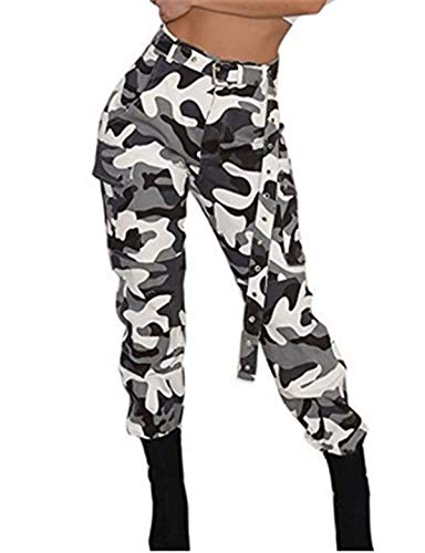 UFACE Women's Camo Cargo Trousers Military Army Combat Camouflage Pants Womens Cargo
