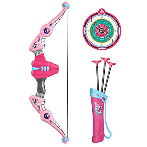ZUJI Pfeil und Bogen Kinder Set Schießen Spielzeug - 1er Bogen 3er Pfeil 1 Köcher und 1er Zielscheibe (Rosa)