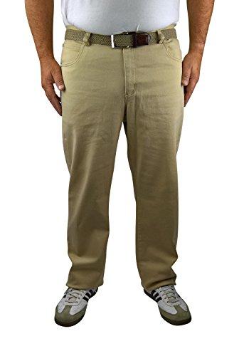 Herren 5-Pocket Stretch Twill Hose 60, 62, 64, 66, 68, 70, XL, XXL, 3XL, 4XL, 5XL, 6XL, Große Größen, Übergröße, Big Size, Plus Size (64, Beige) (Stretch Twill-hose)