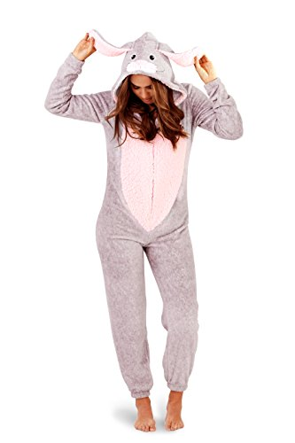 Lounge able, Donna Lusso 3d animale tutto in un jumpsuit costume intero Grauhase X-Large
