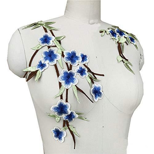 2 Stück/Set bestickte Pflaumenblüten Blume Spitze Trim Ausschnitt Patches für Kleidung Exquisite DIY Nähen Applikation Kragen Applikation blau Trim Jeans Hose