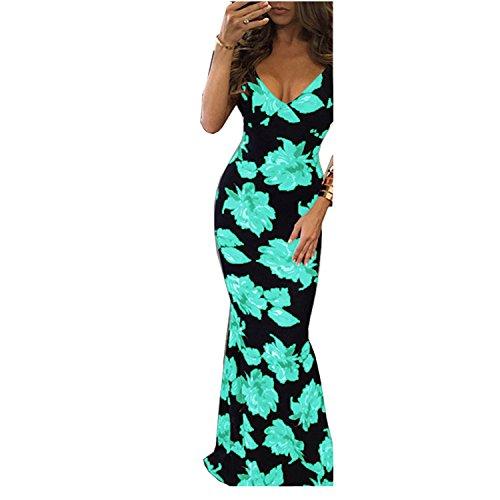 BigForest Damen sexy spaghetti strap V-neck Boho backless beach maxi kleid Long party Dress Green