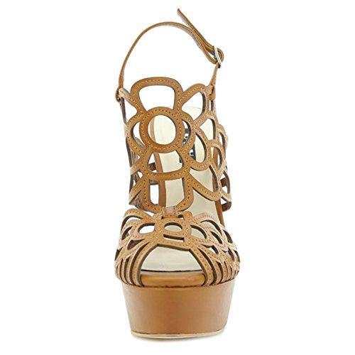 Toocool - Scarpe donna sandali traforati cinturino tacchi MARRONE Queen Helena S2415BR Marrone
